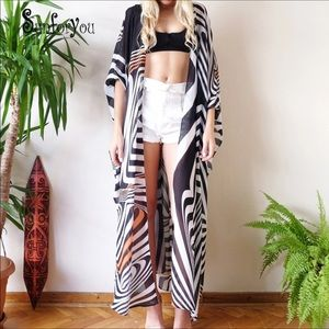 Other - Sheer striped chiffon belted coverup kimono wrap